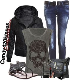 """skull shirt"" by candy420kisses on Polyvore. I really just like the pants and shoes."