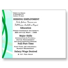 Resume Printed On Back Side Of Oversized Postcard Chasse