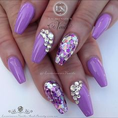 Gorgeous Mauve Nails with Bling