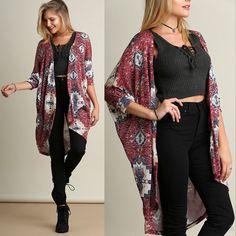 Womens Long Sleeve Printed Cardigan Loose Sweater Coat Outwear Blouse Tops