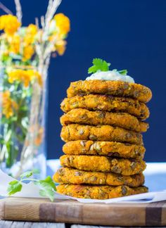 Sweet Potato, Millet & Lentil Cakes with Curry Cilantro Mayo