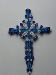 blue and white cross quilling