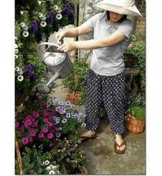 Japanese Kasuri Cotton Gardening Pants, Monpe