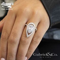 Gabriel NY - Preferred Fine Jewelry and Bridal Brand. Daring and modern, this pear cut engagement ring features two scintillating diamond halos with an exaggerated silhouette and a contoured pave diamo Double Halo Engagement Ring, Pear Shaped Engagement Rings, Engagement Ring Shapes, Diamond Engagement Rings, Pear Shaped Rings, Engagement Bands, Bridal Rings, Wedding Jewelry, Wedding Rings