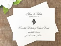 Our Fleur De Lis save the date card is great for a New Orleans wedding. This design is also great for a French inspired affair. Customization: View ink and paper choices in the images above. THIS SUITE: Black Ink (wording is not customizable for sample orders)  To Order: ∴ Purchase either a SAMPLE or DEPOSIT FOR PRINTING from the drop down menu. ∴ For SAMPLE orders, please include PAPER, INK and a maximum of 3 ENVELOPE LINER swatch choices in the notes to seller at checkout. (we do not…