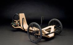 """Rennholz Vehicle Concept, Powered by a Bosch Cordless Drill! I plan to build a ride-on toy car for my Grandson """"Smuckers"""" third birthday in August, and being a fan of three wheeled cars this one really captures my imagination. We'll see where this goes. Drift Trike, Wood Bike, Recumbent Bicycle, Reverse Trike, Concept Motorcycles, Electric Bicycle, Electric Vehicle, Electric Power, Drill"""