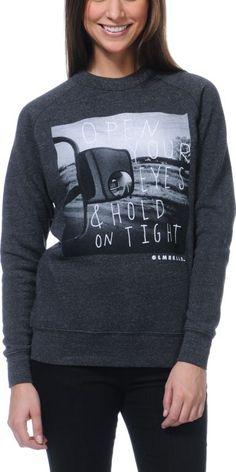 Glamour Kills Open Your Eyes Charcoal Crew Neck Sweatshirt $44.95