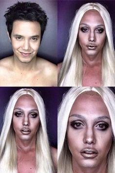 O filipino Paolo Ballesteros se transforma nas famosas de Hollywood usando maquiagem Esta é Lady Gaga com o look usado na campanha da Versace. Kim Kardashian, Paolo Ballesteros, Le Contouring, Mind Blowing Facts, Born This Way, Big Star, Miley Cyrus, Filipino, Lady Gaga