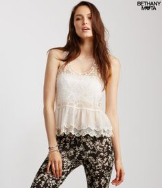 Sheer Lace Tiered Tank -