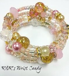 Miss Pretty Beaded Coil Bracelet by RandRsWristCandy on Etsy
