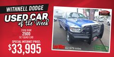 Withnell Dodge Used Car of the Week. Check out this 2008 Ram 2500 SLT Quad Cab Diesel w/ low mileage and a great price, here in Salem, Oregon.