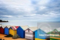 A back view of the famous bathing huts on Brighton Beach, Melbourne, Australia, on a soft light day.