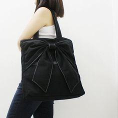 Back To School Sale - BLACK Canvas Women Tote, Shoulder Bag, School Bag, Diapers Bag, Everyday Purse, Handbag - QT
