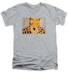 Our v-neck t-shirts are made from pre-shrunk, deluxe-combed cotton and are available in five different sizes. All v-necks are machine washable. Summer Tshirts, V Neck T Shirt, T Shirts For Women, Mens Tops, Cotton, Design, Cheetah, Sport, Painting