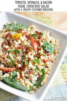 Tomato Spinach  Bacon Pearl Couscous Salad with Creamy Cucumber Dressing  www.uncommondesignsonline.com