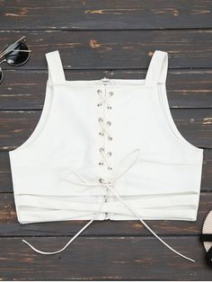 7e919cd5f9c71 Criss Cross Cropped Lace Up Tank Top - White Cute Tank Tops
