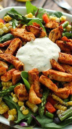 Grilled BBQ Blue Cheese Chicken Salad