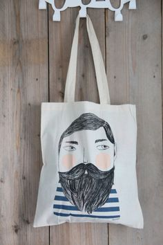 Bearded man shopper Depeapa. Bearded man Sailor shopper tote canvas by Depeapa at Indie-ish.nl