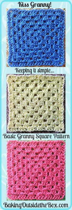 Basic Granny Square Pattern ~ Kiss Granny - Baking Outside the Box
