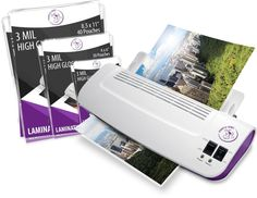 """Fast Machine Laminator Hot Cold 9"""" Plus 100 Pack Laminating Pouches Sheets NEW #PurpleCows #Custom"""