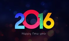 3d New Year 2016 Wallpaper black colorful HD greeting