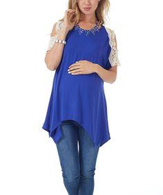 Look at this #zulilyfind! Royal Blue Crochet Open-Shoulder Maternity Top - Women by PinkBlush Maternity #zulilyfinds