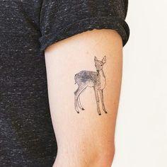Doe tattoo Fear Tattoo, Doe Tattoo, Raven Tattoo, Tattoo You, Fake Tattoos, Tattoos For Guys, Tatoos, Baby Deer Tattoo, Circular Tattoo