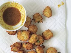 Crab Hush Puppies with Curried Honey-Mustard Sauce