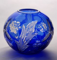 A blue Art Deco Vase with cut and etched glass  blueand clear cut and etched glass Czech Excellent condition circa 1940