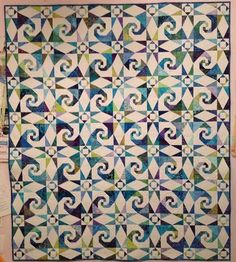 Sea Swept quilt, Cotton Patch Quilt Shop. Storm at sea with snail's trail blocks.