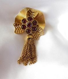 Vintage Tassel Brooch with Purple Rhinestones by VJSEJewelsofhope, $15.00