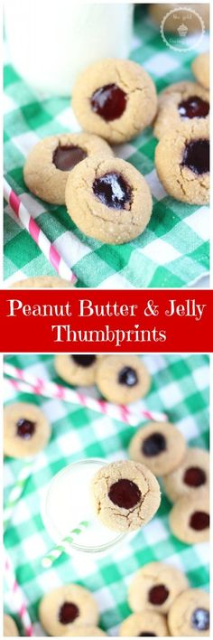 A soft peanut butter thumbprint cookie with a generous dollop of jam in the center!