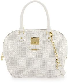 love this  -- Betsey Johnson Always Be Mine Faux-Leather Dome Satchel Bag, White  -- http://www.hagglekat.com/betsey-johnson-always-be-mine-faux-leather-dome-satchel-bag-white/