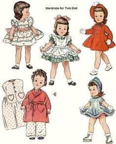 Vintage-Doll-Clothes-Pattern-3728-14-Pinafore-PJs-Skating-5-outfits