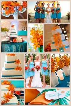 Turquoise and orange themed wedding collage