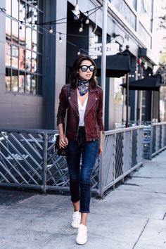 Strolling through downtown Los Angeles in my casual outfit - Burgundy leather  jacket 1cf95c333