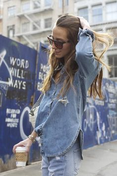 the jeans lady - double denim on the street in New York