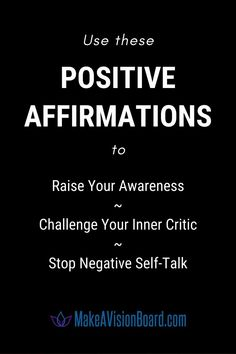 Stop listening to that negative, nagging voice in your head. Use these positive affirmations to silence your inner critic - change your thoughts and change your life! Making A Vision Board, Real Real, Negative Self Talk, Mindful Living, Critic, Positive Affirmations, You Changed, Self Love, Mindfulness