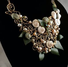 14KGF Necklace w Snail, Conch Shell, CFWP and Leather