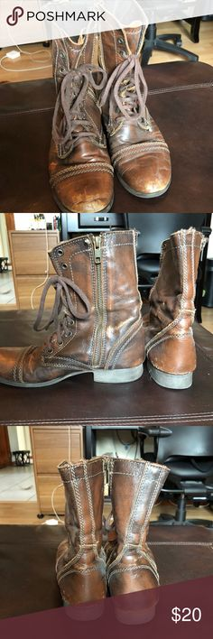 Troop Leather Brown Steve Madden Combat Boots In great shape and has a beautiful rustic brown color! Steve Madden brand only worn a twice Steve Madden Shoes Combat & Moto Boots
