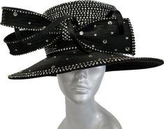 Women/'s Designer Couture Crystal Rhinestones Satin Ribbon Hat Church Wedding