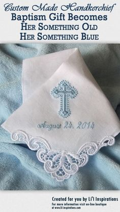 Baptism Handkerchief Becomes Bride Something Blue – lil-inspirations Baptism Presents, Baptism Gifts For Girls, Baby Girl Baptism, Baptism Party, Christening Gifts, Baby Girl Gifts, Godchild Gift, Goddaughter Gifts, Communion