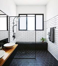 #bathroomrenovation #bathroom #blackandwhite #contrast #classicdesign #homerenovation #reno #renovationproject #renovatorauctions #diy #showerscreen #project #modernbathroom #interiordesign #invest #homeideas #blacktiles #bathroomtiles #whitewalls #whitetiles