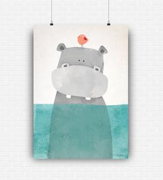 Illustration poster art with cute hippo to decorate kids and nursery room.  *** YOU WILL DOWNLOAD *** • 1 file in medium size 8x10 (20.3x25.4 cm) • 1 file in large size 16X20 (40.6x50.8 cm) • 1 file in xlarge size 20x24 (50.8x61 cm)  All in high quality (300 dpi), JPEG format. This listing is for an INSTANT DOWNLOAD. No physical product will be delivered.  The digital files will be instantly available to download, after your payment transaction is complete. You can print it at home or send…