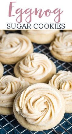These Frosted Eggnog Cookies are made with a soft sugar cookie recipe that is spiked with eggnog. Decorate these soft eggnog cookies with a swirl of eggnog frosting and you will get a super yummy and beautiful Christmas cookie in under one hour. Eggnog Frosting Recipe, Soft Sugar Cookie Recipe, Eggnog Recipe, Soft Sugar Cookies, Cookie Recipes, Recipes Using Eggnog, Best Christmas Cookie Recipe, Holiday Cookies, Christmas Cookie Boxes