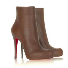 Apostrophy pointed red sole pump by Christian Louboutin. Christian Louboutin kid leather pump. 4 covered stiletto heel. Pointed toe; single sole. Leather...