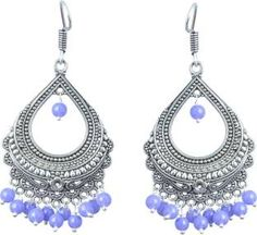Waama Jewels Elegant Pair Of Blue Color Pearl Silver Plated Bali Dangle & Drop Perfect For All Occasions Pearl Brass Drop Earring