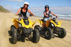 Baylys Beach Quad Bike Hire.  Baylys Beach Holiday Park have 5 quad bikes available for hire,allowing you to experience the thrill of driving along 'Ripiro Beach', New Zealand's longest drivable beach. enjoy the thrill of driving along the flat beach only not on soft sand for safety reasons. 3 hrs either side of high tide. Holiday Park, Beach Holiday, Ride Along, Quad Bike, Adventure Activities, High Tide, West Coast, New Zealand, Outdoor Power Equipment