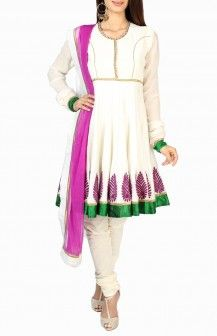 White & Purple Salwar By Ekru Rs 18500