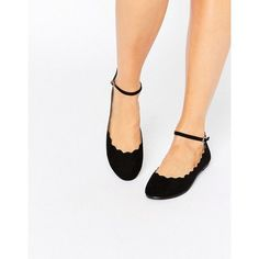 London Rebel Scallop Edge Ankle Strap Ballerina ($30) ❤ liked on Polyvore featuring shoes, flats, black, round toe ballet flats, ballet flats, black round toe flats, black ballerina flats and ballerina shoes